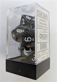 Chessex Polyhedral 7 Die Set - Translucent Smoke with White Numbers