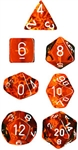 Chessex Polyhedral 7 Die Set - Translucent Orange with White Numbers