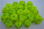 Chessex Polyhedral 7 Die Set - Vortex Electric Yellow with Green Numbers