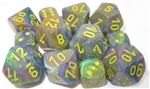Chessex Polyhedral 7 Die Set - Festive Rio with Yellow Numbers