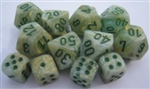 Chessex Polyhedral 7 Die Set - Marble Green with Dark Green Numbers