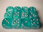 Chessex 12D6 - 16mm Cirrus Aqua with Silver Pips
