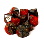 Chessex 10D10 - Gemini Orange-Steel with Gold Numbers