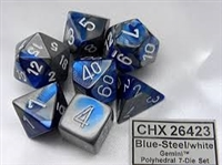 Chessex Polyhedral 7 Die Set - Gemini Blue-Steel with White Numbers