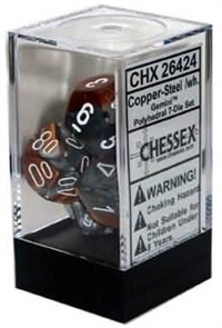 Chessex Polyhedral 7 Die Set - Gemini Copper-Steel with White Numbers