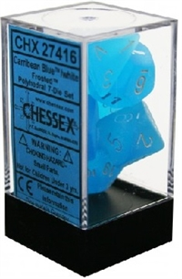 Chessex Polyhedral 7 Die Set - Frosted Caribbean Blue with White Numbers