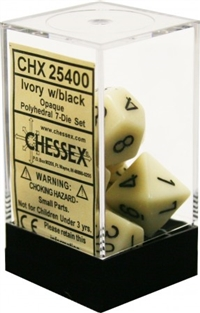 Chessex Polyhedral 7 Die Set - Opaque Ivory with Black Numbers
