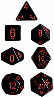 Chessex Polyhedral 7 Die Set - Opaque Black with Red Numbers