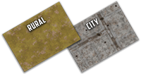 Battlefield in a Box - Two-sided Gaming Mat - Brown Grass/City