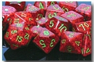 Chessex 36D6 - 12mm Speckled Strawberry with Green Pipps