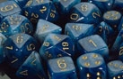 Chessex 12D6 - 16mm Phantom Teal with Gold Pipps