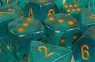 Chessex 12D6 - 16mm Borealis Teal with Gold Pipps
