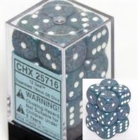 Chessex 12D6 - 16mm Speckled Sea with White Pipps