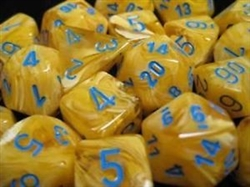 Chessex 36D6 - 12mm Vortex Yellow with Blue Pipps