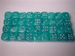 Chessex 36D6 - 12mm Cirrus Aqua with Silver Pips