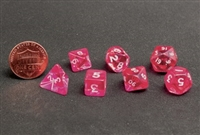 CHESSEX TRANSLUCENT MINI-POLYHEDRAL PINK/WHITE 7-DIE SET