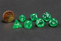 CHESSEX TRANSLUCENT MINI-POLYHEDRAL GREEN/WHITE 7-DIE SET