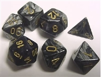 CHESSEX LUSTROUS 7-DIE SET BLACK/GOLD