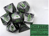 CHESSEX GEMINI 7-DIE SET BLACK-GREY/GREEN