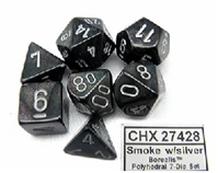 CHESSEX BOREALIS 7-DIE SET SMOKE/SILVER