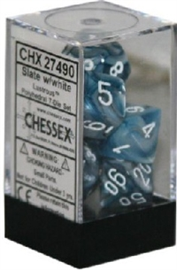 CHESSEX LUSTROUS 7-DIE SET SLATE/WHITE