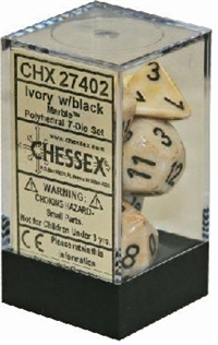 CHESSEX MARBLE 7-DIE SET IVORY/BLACK