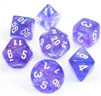 CHESSEX BOREALIS 7-DIE SET PURPLE/WHITE