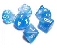 CHESSEX BOREALIS 7-DIE SET SKY BLUE/WHITE