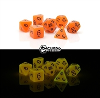DIE HARD DICE POLY RPG SET - GLOW I/T DARK ORANGE