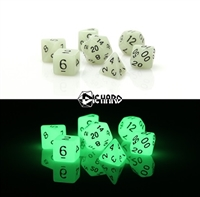 DIE HARD DICE POLY RPG SET - GLOW I/T DARK WHITE