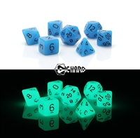 DIE HARD DICE POLY RPG SET - GLOW I/T DARK BLUE