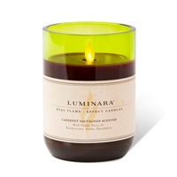 "Luminara - Moving Flame LED Candle - Cabernet Wine Glass - Scented Burgundy Wax - Remote Ready - 3.5"" x 5"""