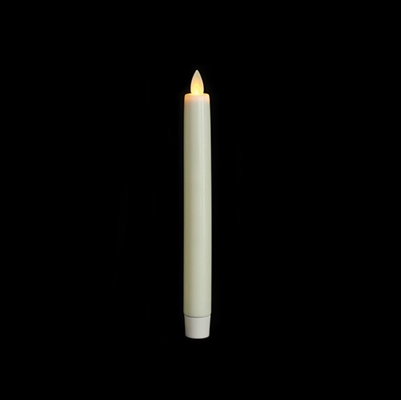 "Luminara Moving Flame LED Taper Candle - Indoor - Unscented Ivory Wax - 15/16"" x 8"" - Remote Ready"