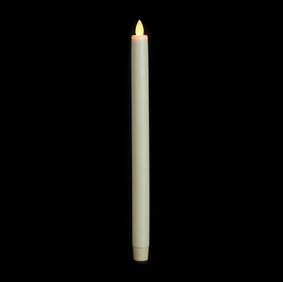 "Luminara Moving Flame LED Taper Candle - Indoor - Unscented Ivory Wax - 15/16"" x 12"" - Remote Ready"