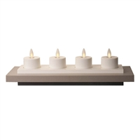 "Luminara - Set of 4 Rechargeable Flameless LED Tealights With Charging Base - Ivory ABS - 1.5"" x 1.5"" - Remote Capable"