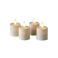 "Luminara - Set of 4 Rechargeable Flameless LED Tealights - Ivory ABS - 1.5"" x 1.5"" - Remote Capable"