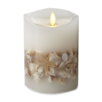 "Luminara - Flameless LED Candle - Embedded Seashells - Indoor - Unscented White Wax - Remote Ready - 4"" x 5"""