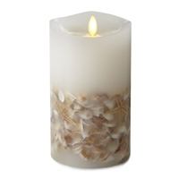 "Luminara - Flameless LED Candle - Embedded Seashells - Indoor - Unscented White Wax - Remote Ready - 4"" x 7"""