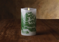 "Luminara - Flameless LED Candle - Embedded Ferns - Indoor - Unscented White Wax - Remote Ready - 4"" x 7"""