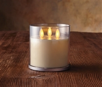 "Luminara - Tri-Flame Rechargeable Flameless LED Candle - Ivory Wax - 4"" x 4.25"" Acrylic Jar - Remote Capable"