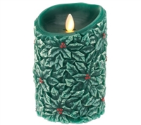"Luminara - Flameless LED Candle - Indoor - Wax - Embossed Forest Green Holly Berry - Unscented - Remote Ready - 3.5"" x 5"""