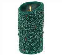 "Luminara - Flameless LED Candle - Indoor - Wax - Embossed Forest Green Holly Berry - Unscented - Remote Ready - 3.5"" x 7"""