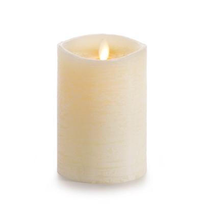 "Luminara - Flameless LED Candle - Rustic Finish - Vanilla Scented Ivory Wax - Remote Ready - 3.5"" x 5"""