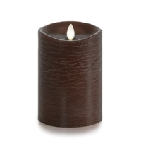 "Luminara - Flameless LED Candle - Rustic Finish - Sandalwood Scented Brown Wax - Remote Ready - 3.5"" x 5"""