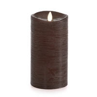 "Luminara - Flameless LED Candle - Rustic Finish - Sandalwood Scented Brown Wax - Remote Ready - 3.5"" x 7"""