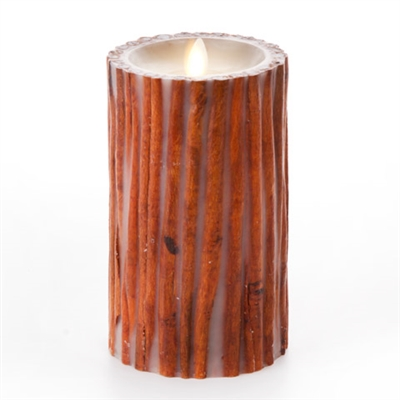 "Luminara - Flameless LED Candle - Embedded Cinnamon Sticks - Indoor - Unscented Ivory Wax - Remote Ready - 4"" x 7"""