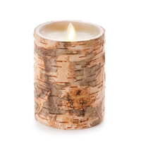 "Luminara - Flameless LED Candle - Embedded Birch Bark - Indoor - Unscented Ivory Wax - Remote Ready - 4"" x 5"""
