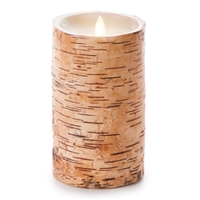 "Luminara - Flameless LED Candle - Embedded Birch Bark - Indoor - Unscented Ivory Wax - Remote Ready - 4"" x 7"""