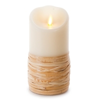 "Luminara - Flameless LED Candle - Indoor - Wax - Reed Wrapped - Remote Ready - 3.5"" x 7"""
