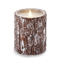 "Luminara - Flameless LED Candle - Silver Washed Bark - Indoor - Unscented Ivory Wax - Remote Ready - 4"" x 5"""